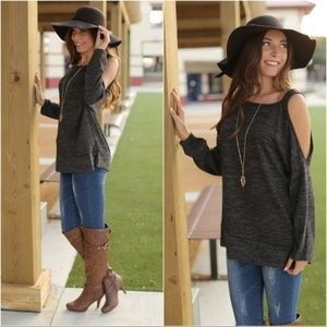 ❤️Charcoal Long Sleeve Cold Shoulder Tunic